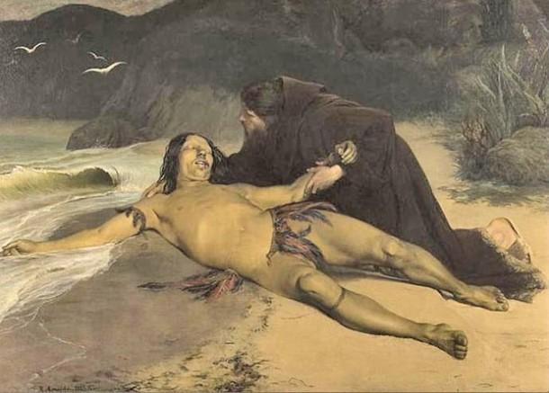 O Último Tamoyo, óleo sobre tela, de Rodolpho Amoêdo, retratando a morte do cacique Aimberê, atendido por um padre  jesuíta. A obra faz parte do acervo do Museu Nacional de Belas Artes