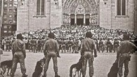 Foto histórica, em frente à Catedral da Sé, em Sampa num momento de repressão dos tempos da ditadura (Reprodução do livro)